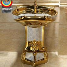 Fregadero de cerámica con Pedestal de pie, lavamanos de Pedestal y lavabo de mosaico dorado Vintage