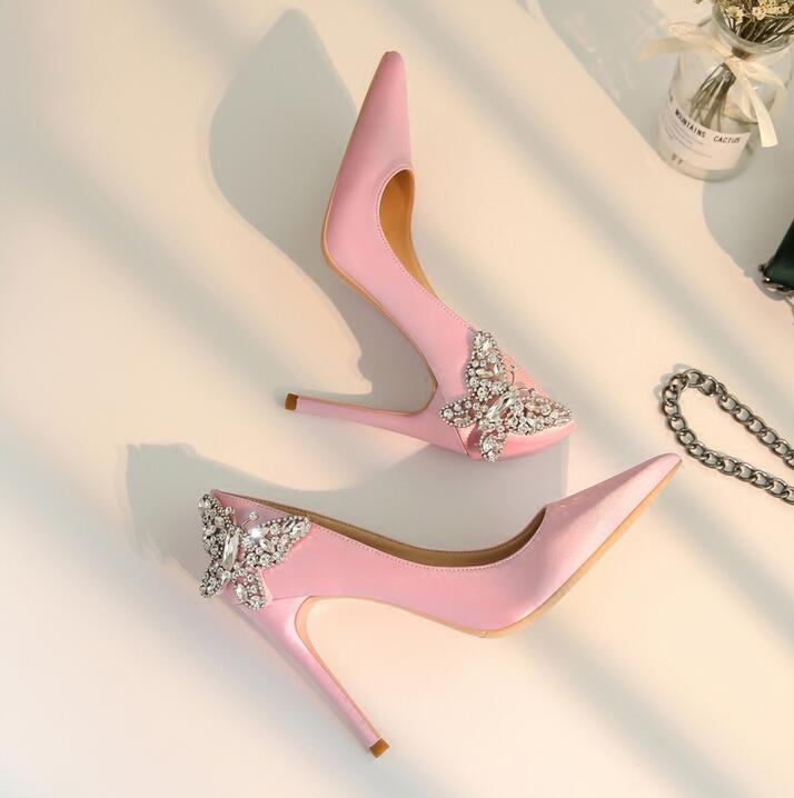 Elegant Pink Leather Women Pumps Crystal Butterfly-knot Decor High Heel Shoes Pointed Toe Slip-on Ladies Wedding Dress Shoes elegant red buttefly knot crystal pumps for women pointed toe slip on wedding party dress shoes flock thin heels pumps