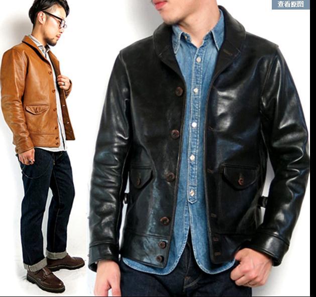 Free shipping.Brand new horseskin clothing,mans 100% genuine leather Jackets,fashion mens slim japan style jacket,