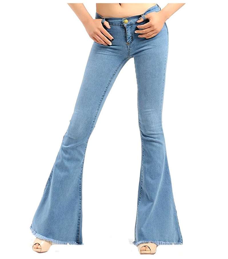 2017 Spring New Hot Fashion Horn Jeans Slim Tall Ladies Light Blue Flare Pants Women s