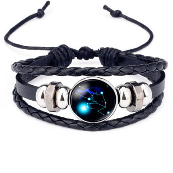 Hot Sale Luminous 12 Constellations Leather Bracelet Zodiac Sign Beads Bangle Bracelets For Men Glow in the Darkness Jewelry