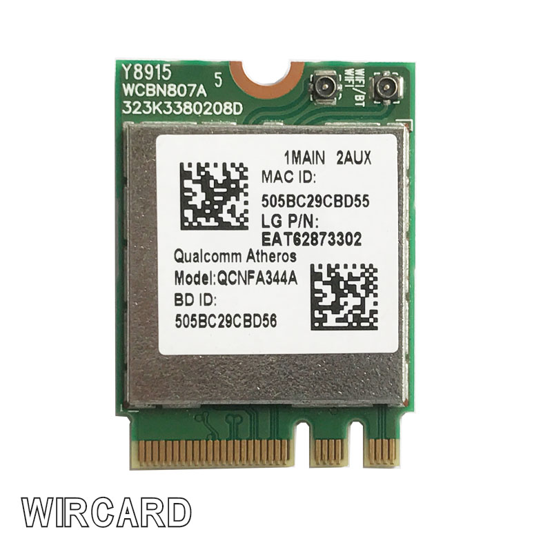 WIRCARD Wireless Adapter Card For  Wireless AC Wi-Fi QCNFA344A NFA344A Dual Band+BT4.1 Bluetooth 4.1 NGFF Card