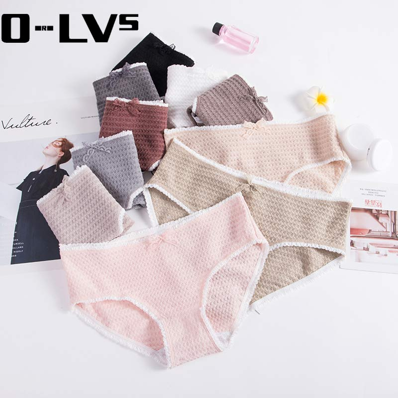 Buy CMENIN 8 colors Women's briefs Comfortable fiber panties pure color classic underwear girl Fashion underpants bow lace P0049
