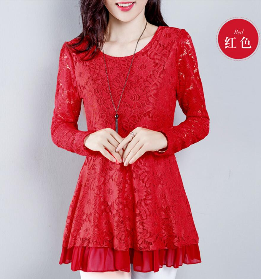 2018 Women Blouses Lace Crochet Long Sleeve blouse Shirts ...