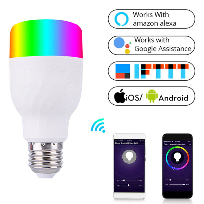 Realistic Wifi Smart Light Bulb Intelligent Colorful Led Lamp 7w Rgbw App Remote Control Works With Alexa Google For Smart Home E27 E26