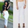 2017 O.Beauty Brand Womens High Waist Jeans Boyfriend White Denim Elastic Slim Pants Plus Size Tight Female Cowboy Pants Femme