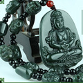 Hetian jade wek-jin and lucky goddess of mercy and peace pendant