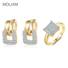MOLIAM Fashion Design Small Huggie Hoop Earrings Rings Set for Women Gold-Color Cubic Zircon Jewelry Sets MLE218b+MLR229