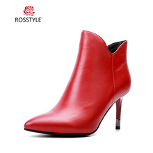 ROSSTYLE Genuine Leather Sexy High Thin Heel Shoes Classic Pointed Toe Boot Red Elegant Mature Woman Ankle Boots Size 35-40 B89