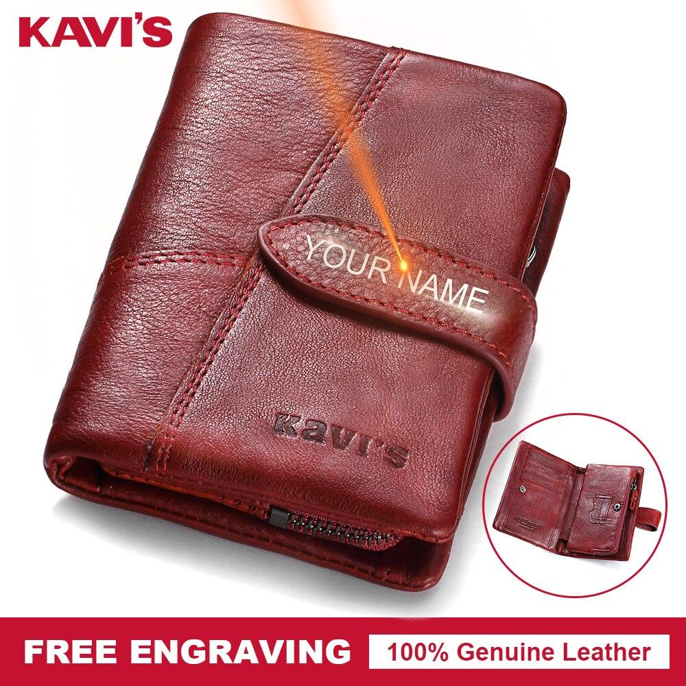 KAVIS gravure gratuite en cuir véritable portefeuille femme femmes porte-monnaie Walet Portomonee dame porte-carte magique Vallet pour nom