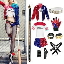 New Adult Cosplay Harley Quinn Ladies Costume Full Set Suicide Squad Cosplays Accessories Party Halloween Costumes batman suicide squad harley quinn movie cosplay costumes shoes boots high heels custom made for adult women halloween party