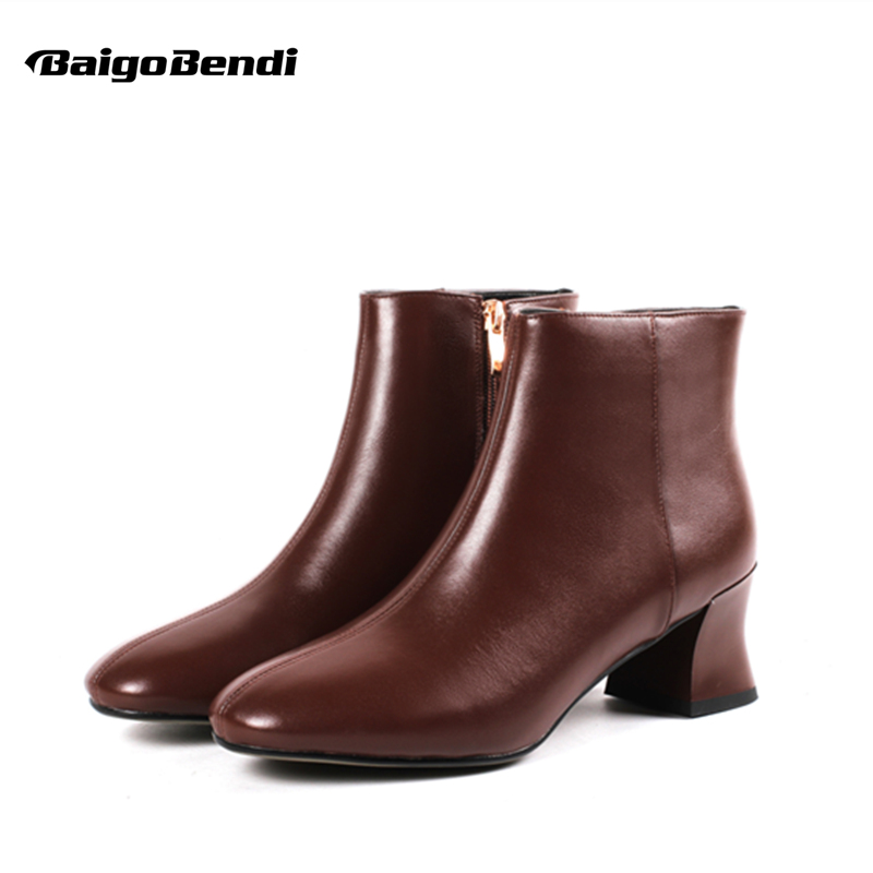 Big Size 41 42 43 Woman Hight Heel Martin Boots Real Leather Ladies Thick Heel Comfort Ankle Boots OL Trendy Round Toe Boots