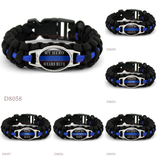 Custom Police Officer My Hero Dad Thin Blue Line Paracord Survival Outdoor Camping Bracelet For