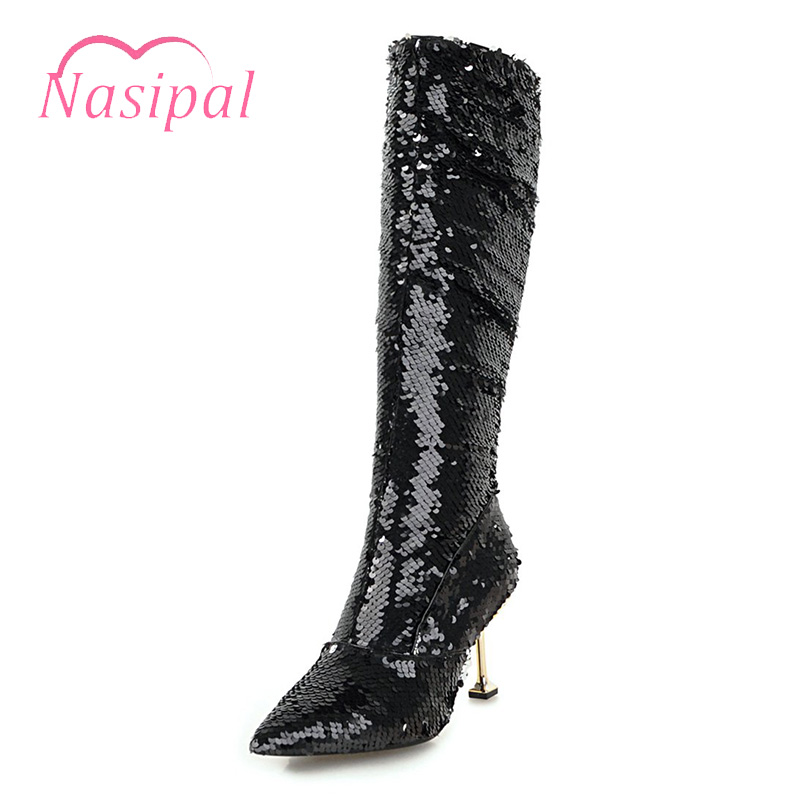 Nasipal Autumn Winter Thin High Heels Sexy Knee High Boots Gold Silver  Knight Boots Glitter Bling Bling Women Nightclub Boots-in Knee-High Boots  from Shoes ... 02a82858d12a