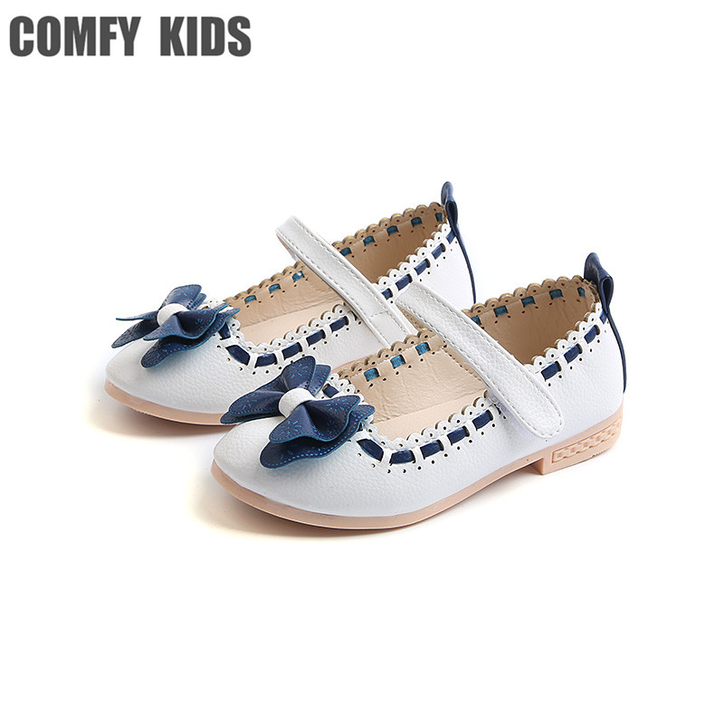 COMFY KIDS 2018 Pu Leather Girls Flats shoes fashion tie size 21-30 girls kids princess shoes baby girls dance flat shoes
