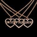 """3pcs/Set Friendship Gold Plated Broken Heart Parts 3 """" Best Friends """" Necklaces & Pendants For Women/Men Jewelry"""