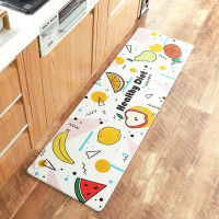 Cartoon Kitchen Fruit Design PVC Leather Surface Water Oil Proof Carpets Rug Anti Slip Floor Mat