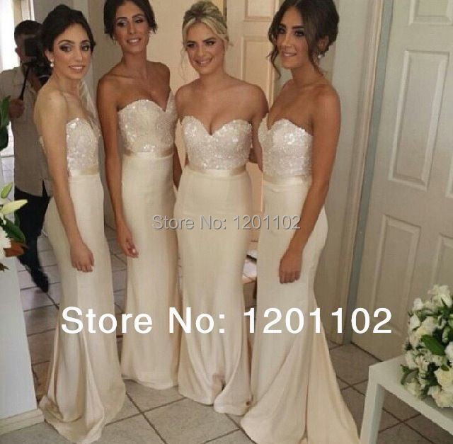 2017 New Arrival Glamorous Formal Wedding Party Dress Sequin Bead Sweetheart Ivory Chiffon Long Bridesmaid Dresses