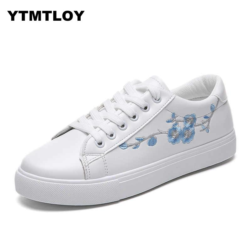 2019 Women Casual Shoes Fashion Breathable PU Leather Platform White Soft Footwears Sneakers Women  Tenis Feminino Sapatos