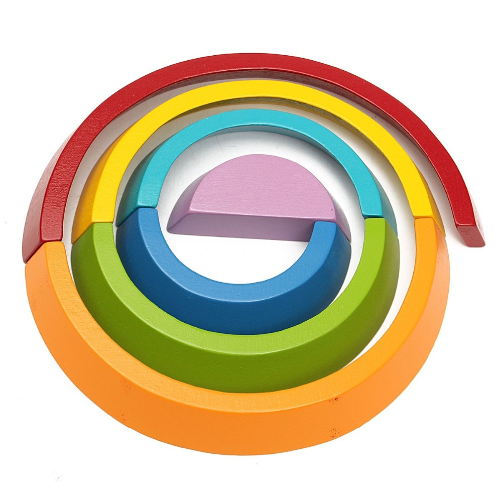 Rainbow Activity Funny Wooden Buliding Blocks Children Early Education Toys Brinquedos Children Kids Educational Play Toy Set