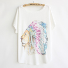 New 2017 Summer Style Women Cartoon Lion Batwing Short Sleeve T Shirt Tops Female Loose Casual