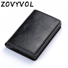 ZOVYVOL Antitheft Rfid Blocking Wallet  Metal Credit Card Holder Automatic Elastic Vintage Aluminum PU Leather rfidwallet