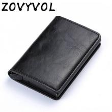 ZOVYVOL Antitheft Rfid Blocking Wallet  Metal Credit Card Holder Automatic Elastic Vintage Aluminum PU Leather rfidwallet
