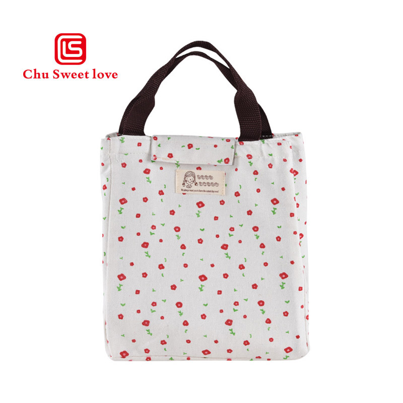 Hot Sale 2017 New Woman Travel Convenient Cooler Bag Clutch Female Casual Print Canvas Square Ice Bag Thermal Insulation Bag