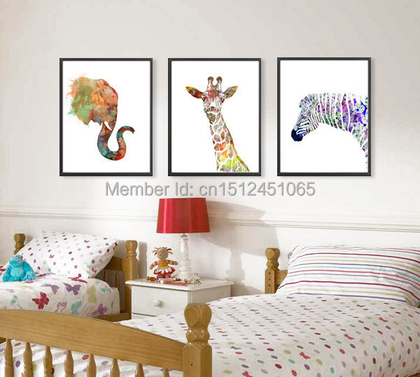 Abstract Elephant Giraffe Zebra Watercolor Art Print Kids Wall Decor Home Decor Wall Art Picture Printed