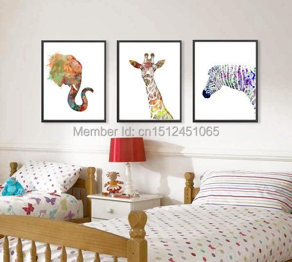 Abstract Elephant Giraffe Zebra Watercolor Art Print Kids Wall Decor Home Decor Wall Art Picture Printed