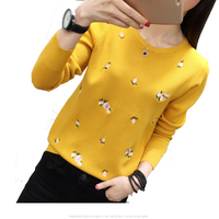 New Autumn Winter Embroidery Floral Knitted Sweater Women Long Sleeve Slim Sweaters And Pullovers Female Jumper