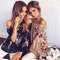 Xinguangya 2017 alta qualidade verão barra pescoço longo flare manga cópia da flor camisetas mulheres casual beach club festa partes superiores das mulheres