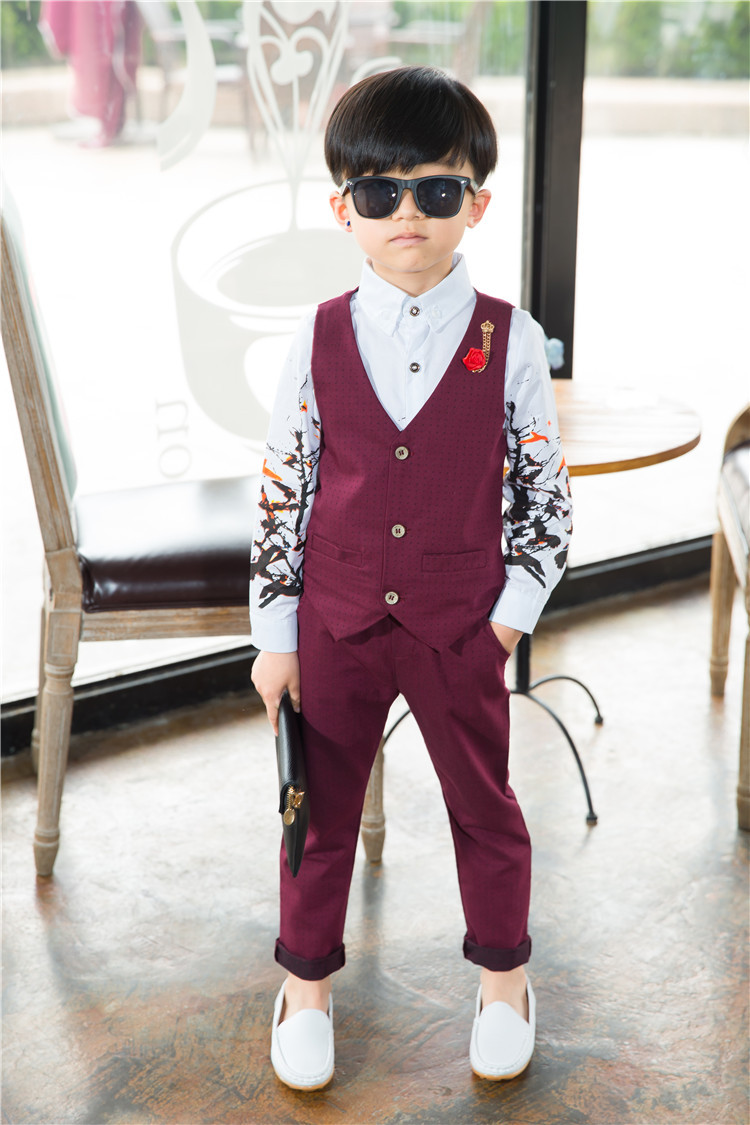 2018 New Boys Clothing Sets Autumn & Spring Vest + Pants 2PCs Boys Wedding Kids Clothes Gentleman Leisure Children Suits 3cs003 kids boys autumn clothing set new children spring and autumn leisure sport long sleeved two piece 5 8 10 12 age kids coat pants