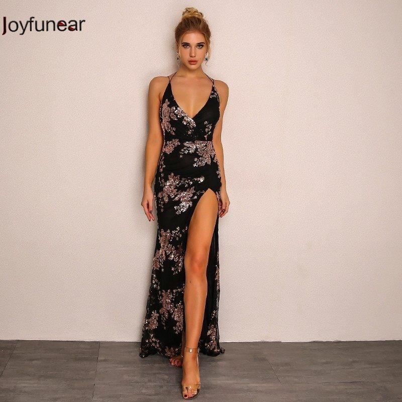 Joyfunear Elegant sequin tassel maxi dress Women evening party summer dress  sexy backless cross lace up c06c15ad69e0