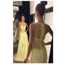 2016 Glamorous A-linie Gelb Farbe Abendkleid Mit Applikationen Kristall Chiffon Abendkleid Rosa Farbe Satin Vestidos De Noche