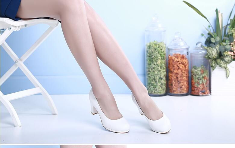 ФОТО Newly arrival women pumps med-high heels square heel  pure white and pure black color can choose fashion and classical