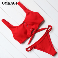 OMKAGI 2017 Solid Bikini Women Swimsuit Brazilian Bikini Set Beachwear Bathing Suits Push Up Padded Swimwear