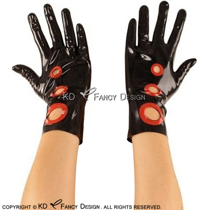 Black With Red Dot Trims Sexy Short Latex Gloves Rubber Mittens ST-0051