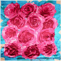 90cm*90cm European Rose Flower and Leaf Floral Printed Brand style women silk satin large square scarf