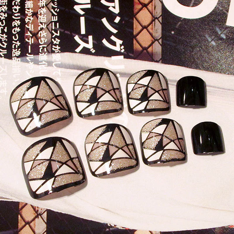 24 Pcs/Set Fashion Foot False Nail Tips Glitter Geometry Printing Women Ladies Fake Toes Nails With Glue Toe Art Tool SMJ
