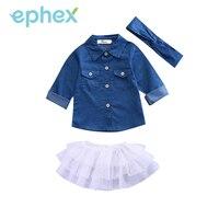 Ephex New 3pcs Toddler Kids Baby Girls Denim Long Sleeve Tops Shirt White Lace Tutu Skirts