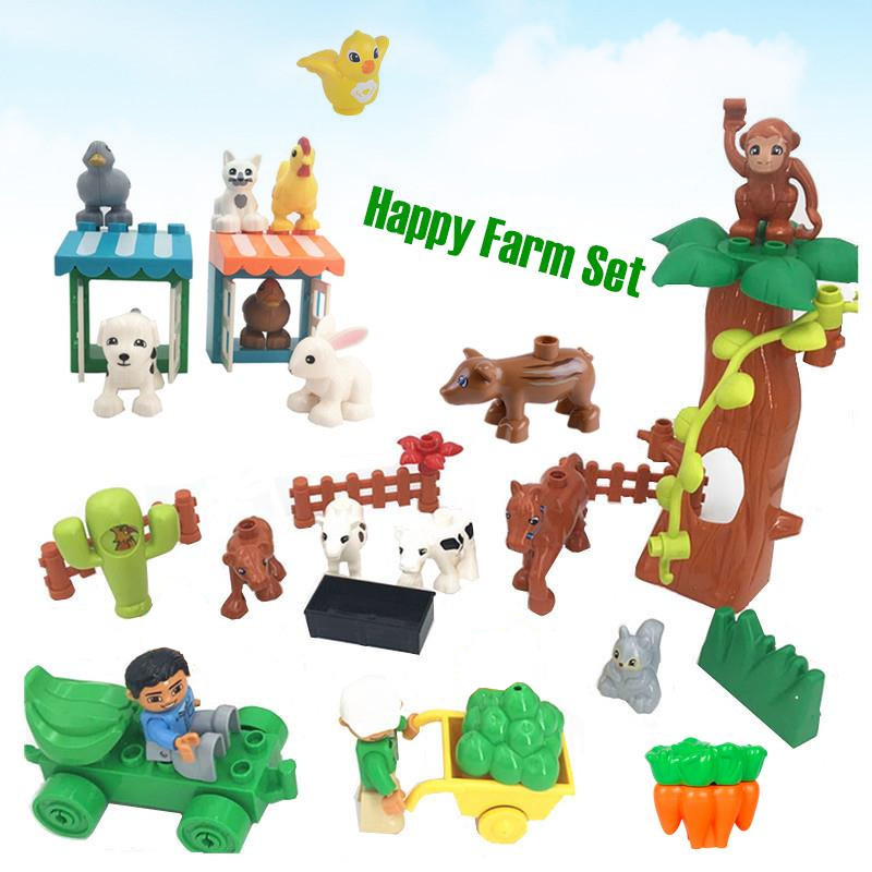 Diy Farm Adventures Animals Set Baby Educational Building Blocks Bricks Toys for Kids Compatible with Legoingly duploed 10869 120pcs farm building blocks diy toys early learning self locking bricks baby educational toys compatible with duplo play house