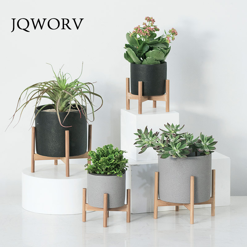 JQWORV Nordic desktop solid wood flower stand cement fleshy flower pot creative simple living room balcony