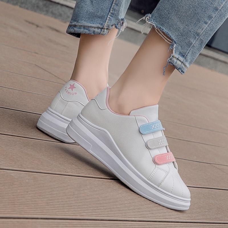2018 Femelle Date Pink Sneakers Plate Cuir Femme Chaussures Feminino Tenis forme Automne Femmes Talon Plat Sneaker Semelle Occasionnel blanc Souple En White Blanc rrx4a
