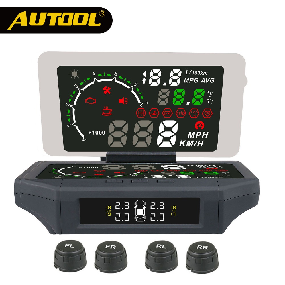 AUTOOL X360 Auto TPMS HUD Head Up Display Reifendruck Überwachung Sensor Thermometer OBD2 3IN 1 Auto OBD 2 II monitor Diagnose