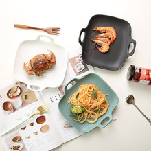 1 PC European Style Dinner Plates Matte Glazed Ceramic Square Dishes with Double Handles Rice Pasta Salad Plates 3 Colors
