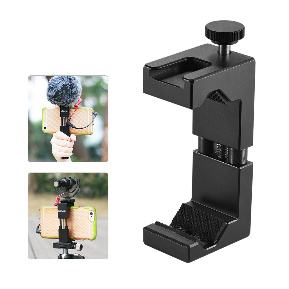 Aluminum Adjustable Camera Phone Tripod /& Phone Clamp with Cold Shoe Mount
