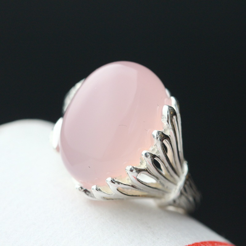 pavilion silver wholesale handmade silver inlaid natural pink chalcedony female money offered 925 sterling silver ring