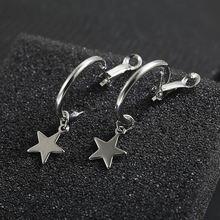 f0c6ed7233c7 Nueva moda círculo estrella pendiente simple hebilla de oreja para mujeres  hombres accesorios para pendientes