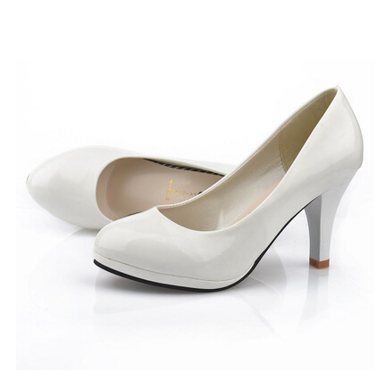 Classic office lady round Toe Womens Spiked Heels Less Platform Party Wedding Office Pump Shoes Woman 9CM